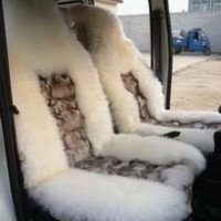 2 White Fox fur&Sheepskin Car Seat Covers Cover (Universal Fit) Pair