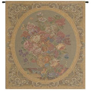 Floral Composition in Vase Cream Tapestry Wall Art Hanging