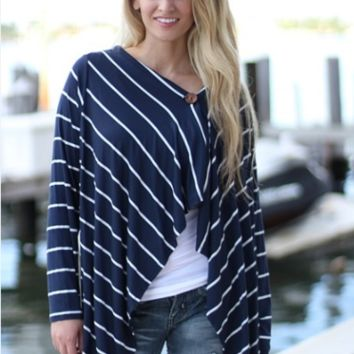 Stripe Long Sleeve Knit Cardigan