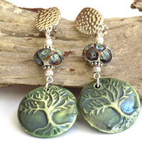 Tree of Life Earrings, Green Earrings, Clip on Earrings for Women, Handcrafted Jewelry, Long Drop Earrings, Boho Chic Jewelry