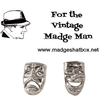 Comedy-Tragedy Mask Cuff Links, Thalia & Melpomene