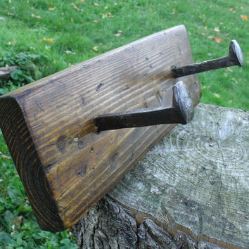 Coat Rack , Rail Road Spikes, Light Brown Finish, Naturally Aged Wood, Distressed, Reclaimed, Rustic, Wood, Hand Made