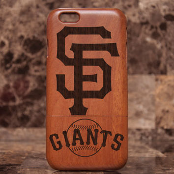 San Francisco Giants iPhone 6 case - Giants iPhone case, World Series baseball - Wooden case custom Baseball - Natural Wood iPhone 6 Case