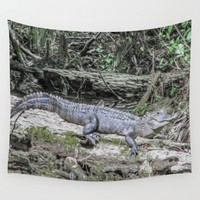 The Smiling Gator Wall Tapestry by Gwendalyn Abrams