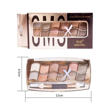 High Quality Professional 3D Eye Shadow Glitter 12 Colors Diamond eyeshadow palette eyes makeup Nude Shimmer Palette With Brush