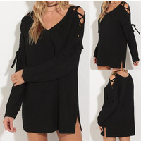 Black Cold Shoulder Lace Tie Shift Mini Dress