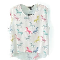 Horses Print Sleeveless Chiffon Top