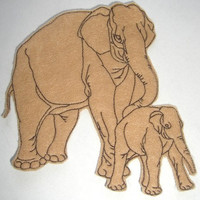 Sew On Glue On Tan Felt Elephant  Applique