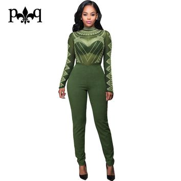 Sexy Bodycon Bandage Jumpsuit Women Overalls Long Sleeve Mesh Bodysuit Black Turtleneck Jumpsuits Vintage Printed Women Rompers