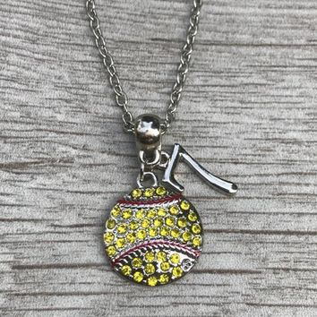 Personalized Softball Rhinestone Necklace- Number