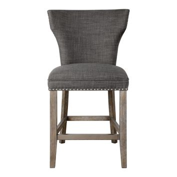 Arnaud Charcoal Gray Linen Upholstered Counter Stool by Uttermost