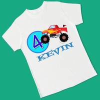 Monster Truck Birthday. 1st, 2nd, 3rd, 4th, 5th, 6th Birthday. Personalized T Shirt, Raglan, Onesuit, or Romper (1715)