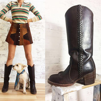 Vintage 1970's Braided FRYE Chocolate Brown Leather Western Campus Knee High Boho Boots || Ladies Size 7.5 To 8