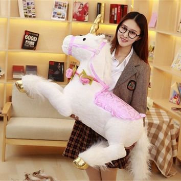 Plush Toy 100CM Unicorn Large Stuffed Animal Horse Doll Toy Birthday Gift Photography Home Decor Pink Blue White Pluche Eenhoorn