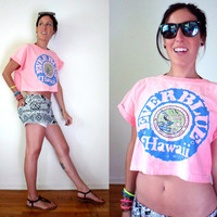 80's Neon Pink Hawaii Surf Crop Top Medium