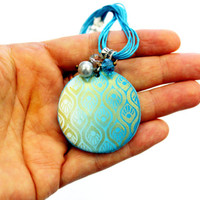 Turquoise gold polymer clay necklace, turquoise pendant gold painted pattern, unique handmade jewelry.