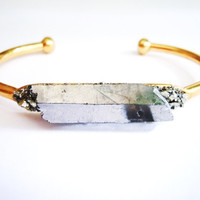 Metallic Crytsal Quartz Cuff Bracelet -Raw Crystal Point Bracelet -Raw Stone- Pyrite Minerals
