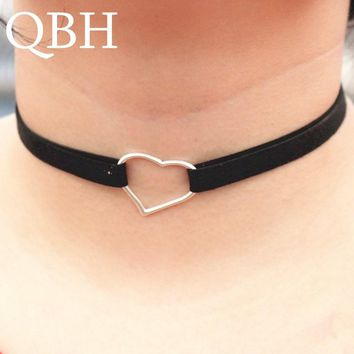 NK987 Punk Steampunk Tattoo Black Leather Velvet Heart Chokers Necklace For Women Chain Jewelry Statement Clavicle Girl Gifts