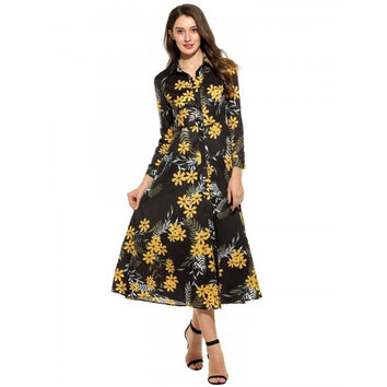 Women Casual Long Sleeve Print Button Down Collar Tunic Maxi Dress