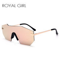 ROYAL GIRL Women Brand Designer Sunglasses Unique Rimless Mirrored lens Oversized Glasses 2017 new ss501
