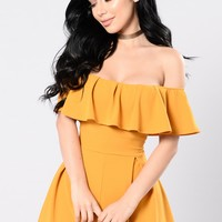 In My Feelings Romper - Mustard