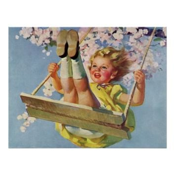 Vintage Child, Girl Swinging on a Tree Swing Play Poster