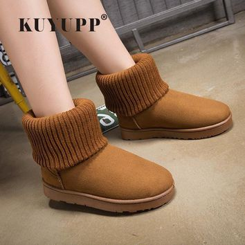 KUYUPP Patchwork Knitting Wool Women Snow Boots Winter Shoes 2017 Flat Heels Warm Plus