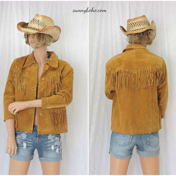 Vintage 90s fringed leather jacket / size S / southwestern boho leather / suede fringe jacket / brown pig split leather western jacket
