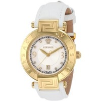 Versace Women's 68Q70SD498 S001 Reve 3 H Yellow-Gold Plated Leather Mother-Of-Pearl Diamond Watch - designer shoes, handbags, jewelry, watches, and fashion accessories   endless.com