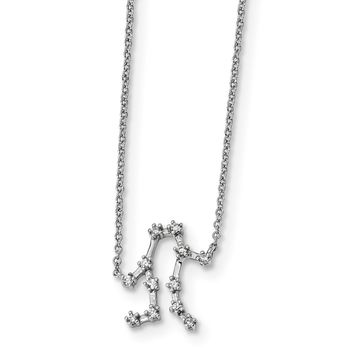 925 Sterling Silver Rhodium-Plated with Gemini Constellation Cubic Zirconia Necklace 16.5 Inch