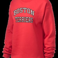 Boston University Terriers Unisex Crewneck Sweatshirt with Tackle Twill