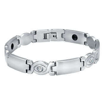 Stainless Steel Cubic Zirconia and Hematite Magnetic Therapy Bracelet