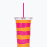 Kate Spade Striped Insulated Tumbler Orange/Pink ONE