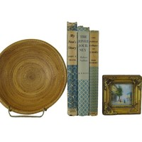 Decorative Book Set Accent Stack in Shades of Blue Green