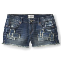 Patchwork Medium Wash Denim Shorty Shorts