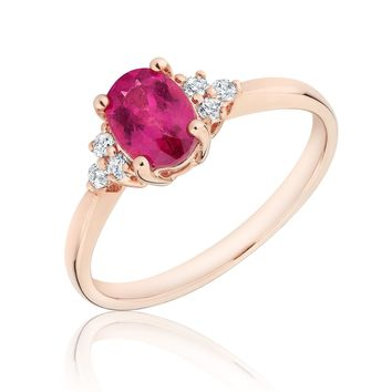 Rubellite Tourmaline and Diamond Ring 1/10ctw
