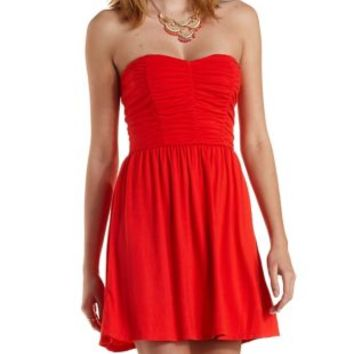 Poppy Red Ruched Strapless Skater Dress by Charlotte Russe