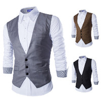 Three Buttons V neck Men's Fashion Vest