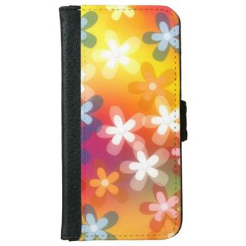 Colorful Summer Blossom Wallet Phone Case For iPhone 6/6s