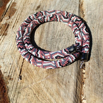 "Beaded rope crochet "" Snake"" with geometric pattern, Beaded rope necklace , brown, gray, white, black color, Handmade jewelry, Gift for her"