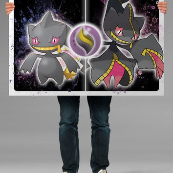 Banette and Mega Banette, Banettite, Mega Evolution Stone, Pokemon Poster, Pokemon Print, Pokemon Canvas, Anime OC-828