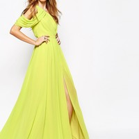Fame and Partners Angelic Siren One Shoulder Pleated Maxi Dress