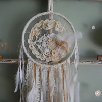 Sweet Dreams - Abandoned Vintage Bits of Fabric, Crochet and Lace Shabby Chic Dreamcatcher OOAK FunkyJunkyArt