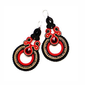 CHRISTMAS SALE 40%, Soutache Earrings, Red Gold Black, Red Earrings, Handmade Jewelry, Statement Jewelry, Dangling Earrings, Long Earrings