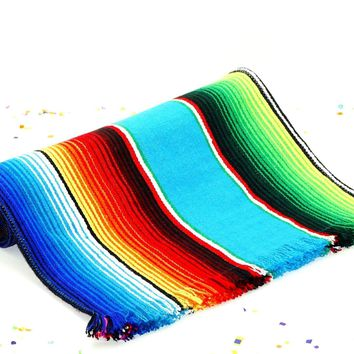 Turquoise Mexican Blanket fabric Table Runner 14x60""