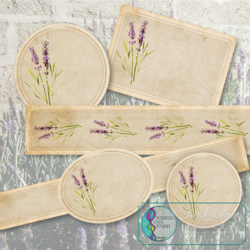 Collage Sheet : Product Labels, Printable Labels, Stationery, Paper Craft Supplies, CUOK, Instant Download - French Lavender