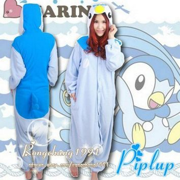 Go Piplup  Onesuit Pattern Animal Jumpsuit Costume Sleepwear Adult Fleece PajamasKawaii Pokemon go  AT_89_9