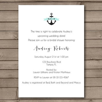 Elegant Simple Anchor Bridal Shower Invitation: Choose Your Banner Color