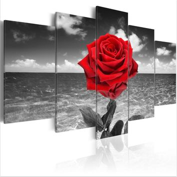 ( No Frame ) Canvas Print Modern Abstract Colour of Love Rose Poster Modern Home Wall Decor Painting Canvas Printing Art HD Prin
