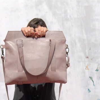Leather tote bag/gray pink color tote bag/crossbody bag/leather crossbody bag/for her